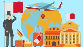 Recepción a la postal de Malta Concepto del viaje y del safari de ejemplo del vector del mapa del mundo de Europa con la bandera  ilustración del vector