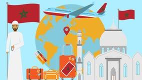 Recepción a la postal de Marruecos Concepto del viaje y del viaje de ejemplo islámico del vector del país con la bandera nacional stock de ilustración