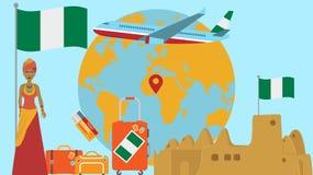 Recepción a la postal de Nigeria Concepto del viaje y del safari de ejemplo del vector del mapa del mundo de África con la recepc stock de ilustración