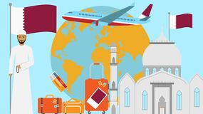 Recepción a la postal de Qatar Concepto del viaje y del viaje de ejemplo islámico del vector del país con la bandera nacional de  ilustración del vector