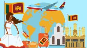 Recepción a la postal de Sri Lanka Concepto del viaje y del viaje de ejemplo del vector del país de los Latinos con la bandera na stock de ilustración