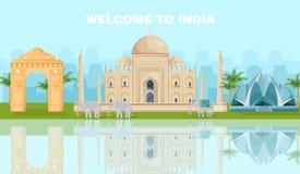 Recepción a la tarjeta de la India con vector famoso de las señales libre illustration