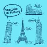 Recepción a la torre Eiffel de Europa Pisa Roma Londres París libre illustration