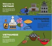 Recepción a las banderas promocionales de Vietnam con símbolos nacionales y cocina stock de ilustración