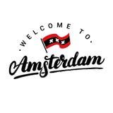 Recepción a las letras escritas mano de Amsterdam con la bandera Imagen de archivo