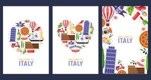Recepción a las tarjetas del recuerdo del saludo de Italia, plantilla del diseño de la impresión o del cartel Viaje al ejemplo pl stock de ilustración