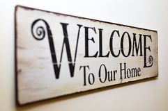Recepción a nuestro hogar Fotografía de archivo libre de regalías