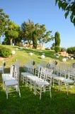 Recepción nupcial al aire libre Decoraciones de la boda Foto de archivo
