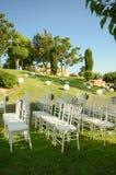 Recepción nupcial al aire libre Decoraciones de la boda Imagen de archivo