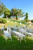Recepción nupcial al aire libre Decoraciones de la boda Fotos de archivo libres de regalías