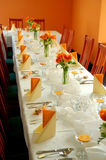 Recepción nupcial en naranja Imagen de archivo