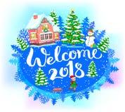 Recepción redonda 2018 de la bandera del Año Nuevo Fotografía de archivo libre de regalías