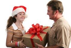 Recepción del regalo de la Navidad Imagen de archivo