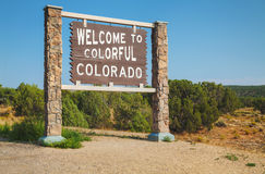 Recepción a la señal de tráfico de Colorado Fotos de archivo