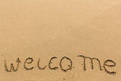 Recepción - manuscrita en la playa arenosa Viajes Foto de archivo libre de regalías