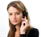 recepcionista en el centro de atención telefónica Fotos de archivo