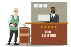 Recepcionista masculino e turista caucasiano do ancião ilustração stock