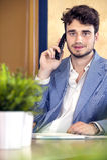 Recepcjonista Używa Cordless telefon Zdjęcia Stock