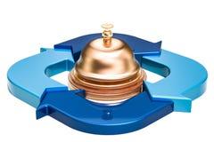 Recepcyjny dzwon z błękitnymi strzała, usługa biznesowej pojęcie 3d ponowny royalty ilustracja
