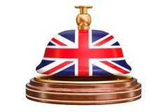 Recepcyjny dzwon z Brytyjski flaga, usługowy pojęcie świadczenia 3 d royalty ilustracja
