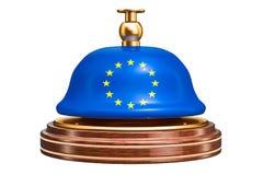 Recepcyjny dzwon z Europejską Zrzeszeniową flaga, usługowy pojęcie 3d ren royalty ilustracja