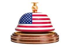 Recepcyjny dzwon z flaga amerykańską, usługowy pojęcie świadczenia 3 d royalty ilustracja