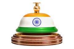 Recepcyjny dzwon z indianin flaga, usługowy pojęcie świadczenia 3 d ilustracji