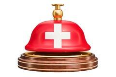 Recepcyjny dzwon z szwajcar flaga, usługowy pojęcie świadczenia 3 d ilustracji