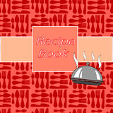 Recept card med olik köktillbehör och ett baner Arkivbild