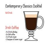 Recept för coctail för vektor för irländskt kaffe modernt klassiskt royaltyfri illustrationer