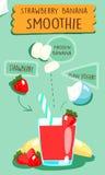 Recept för jordgubbebanansmoothie Fotografering för Bildbyråer