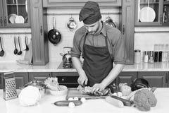 Recept för kockmatlagningvegetarian Kök för matlagning för förkläde för mankockkläder Vegetariskt recept för mankock med nya grön arkivbild