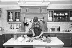 Recept för kockmatlagningvegetarian Vegetariska kokkonstrichvitaminer Matlagning för förkläde för mankockkläder i kök Mankock arkivbild
