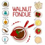 Recept för valnötfondue med ingredienser stock illustrationer