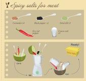 Recept van Kruidige Zouten voor Vlees Royalty-vrije Stock Foto's