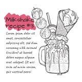 Recept van milkshake N3, smoothie met koekjes, roomijs, vruchten en bessen Vector handdrawn illustratie Royalty-vrije Stock Fotografie