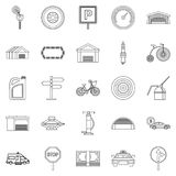 Receptacle icons set, outline style. Receptacle icons set. Outline set of 25 receptacle vector icons for web isolated on white background Royalty Free Stock Images