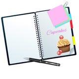 Receptenboek met suikergoed wordt geïllustreerd dat cupcake Royalty-vrije Stock Fotografie