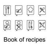 Receptenboek, Recepten, geplaatste Kookboekpictogrammen stock fotografie