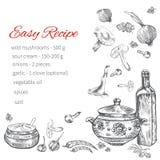 Receptenhand getrokken malplaatje, het vectorontwerp van het paginamenu, keukenbac vector illustratie