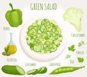 Receptensalade van groene groenten Vector Royalty-vrije Stock Afbeelding