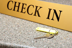 Reception. Hotel. Key on reception desk Stock Photos