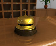 Reception. One 3d render of a hotel reception with a close up of a bell Stock Illustration