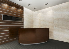 Reception Area. A reception area in an office block. (A blank marble board for placing company logo Stock Photo