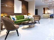 Reception area and lounge area with beautiful colored furniture, a sofa with two armchairs, metal legs and soft upholstery. The. Painting on the wooden wall stock illustration