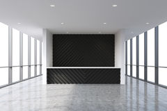 A reception area in a modern bright clean office interior. Huge panoramic windows with white copy space Stock Image