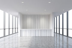 A reception area in a modern bright clean office interior. Huge panoramic windows with white copy space. A concept of boutique con Royalty Free Stock Photos