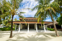 Reception area at tropical resort. Reception building at tropical island resort stock photos