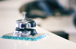 Reception bell. On the hotel desk stock images