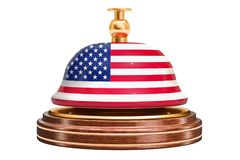 Reception bell with American flag, service concept. 3D rendering. Isolated on white background Stock Images